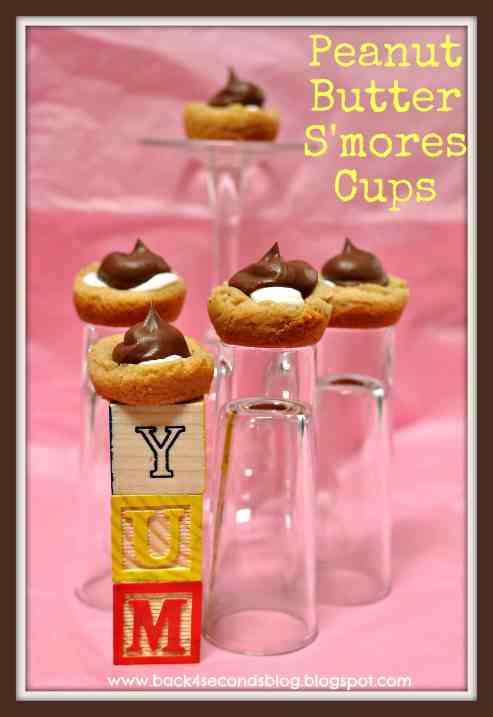 Bite Sized Peanut Butter Smores Cups by: Back For Seconds  #smores #chocolate #marshmallow #peanutbutter #dessert