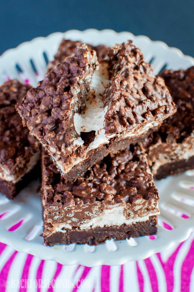 Marshmallow Fudge Crunch Brownies are rich and gooey with a crunchy peanut butter and chocolate topping. One of the best homemade brownie recipes ever!