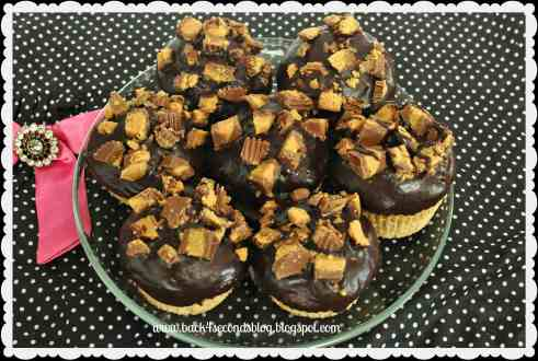Ganache Topped Peanut Butter Cup Muffins by Back For Seconds  #muffins #recipe #cupcake #peanutbutter #chocolate #reeses