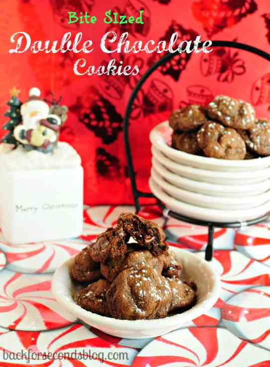 Bite Sized Double Chocolate Cookies by Back For Seconds  backforseconds.com  #christmas #cookies #chocolate #mini