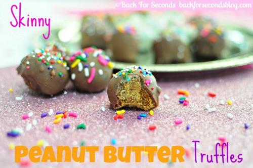 Skinny Peanut Butter Truffles @BackForSeconds #healthy #dessert #candy #party
