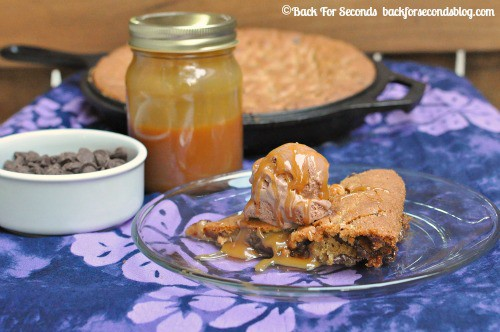 Salted Caramel Deep Dish Cookie Pie https://backforseconds.com  #pie #dessert #saltedcaramel
