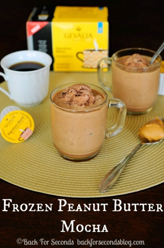 Frozen Peanut Butter Mocha's - INCREDIBLE!  https://backforseconds.com  #recipe #frappuccino #peanutbutter #chocolate