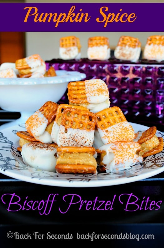 Pumpkin Spice Biscoff Pretzel Bites - Perfect for parties! All the flavors of Fall in an easy no bake bite! https://backforseconds.com  #pumpkin #biscoff #pretzelbites #pumpkinspice