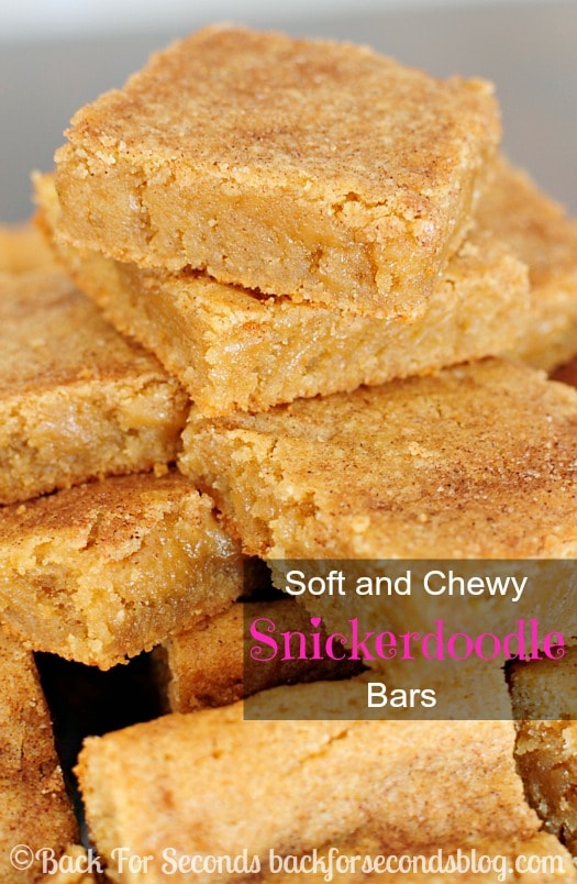 The BEST Soft and Chewy Snickerdoodle Bars!  These are just perfect! https://backforseconds.com  #blondies #snickerdoodles #cookiebars #dessert
