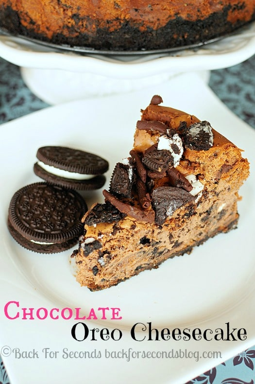 Chocolate Oreo Cheesecake - Three kinds of chocolate in one deliciously decadent dessert! #oreo #cheesecake #chocolate #dessert