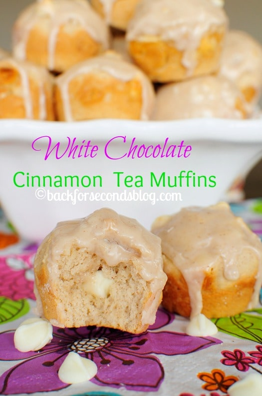Glazed White Chocolate Cinnamon Muffins - These are heavenly! #easter #brunch #breakfast #muffins #AmericasTea  #shop