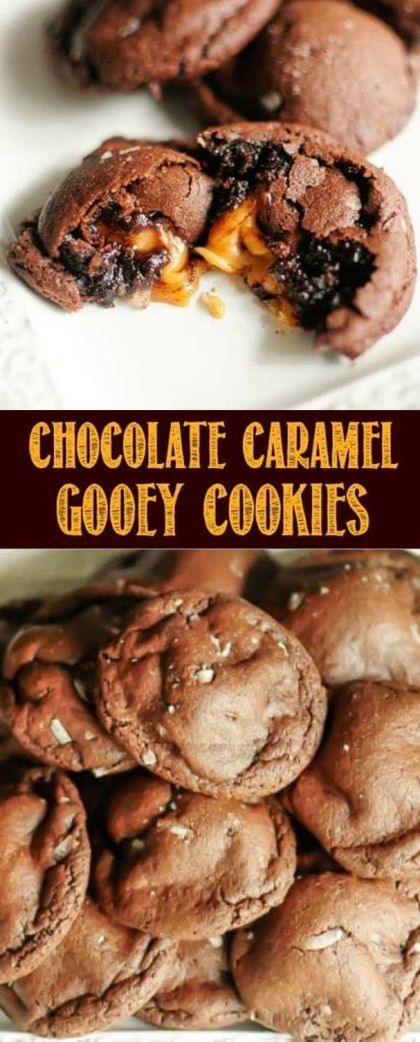 Chocolate Caramel Gooey Cookies