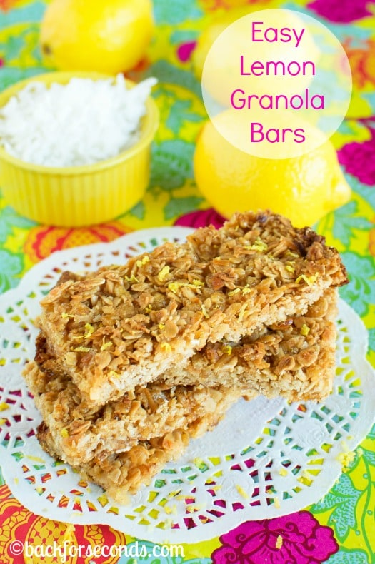 Easy Homemade Lemon Coconut Granola Bars