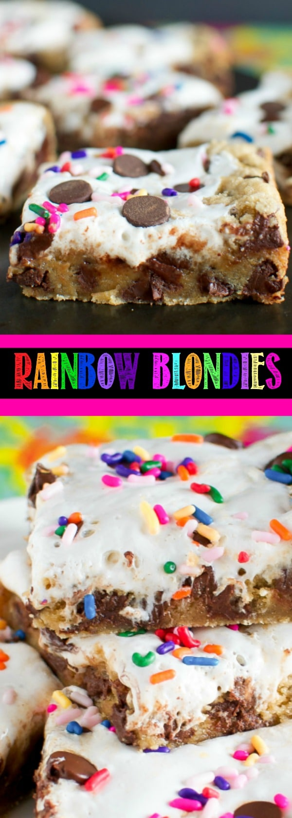 Rainbow Gooey Chocolate Chip Blondies - soft, chewy, and so much fun! The colorful sprinkles make these perfect for spring time, Easter, or birthday parties!