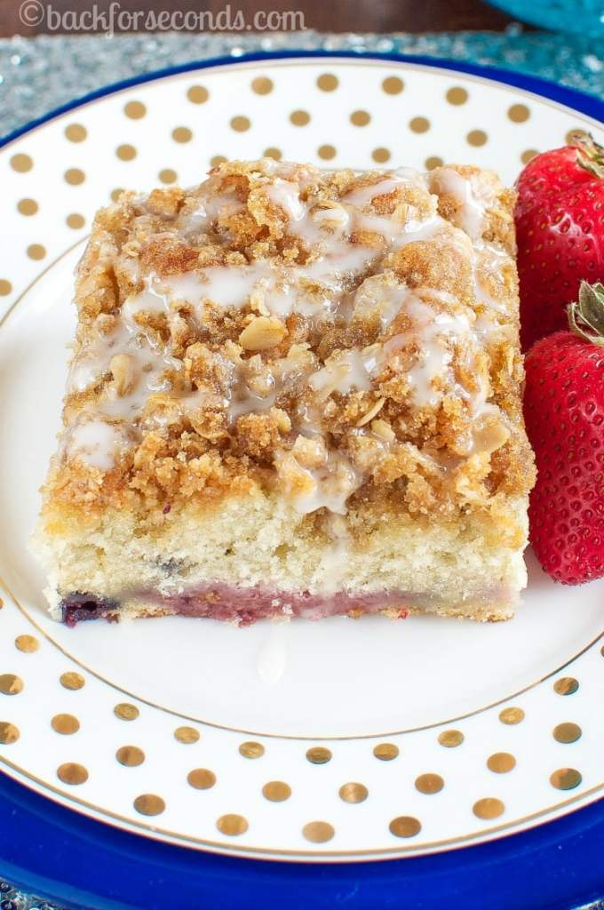 Triple Berry Coffee Cake with Brown Sugar Streusel and Almond Glaze