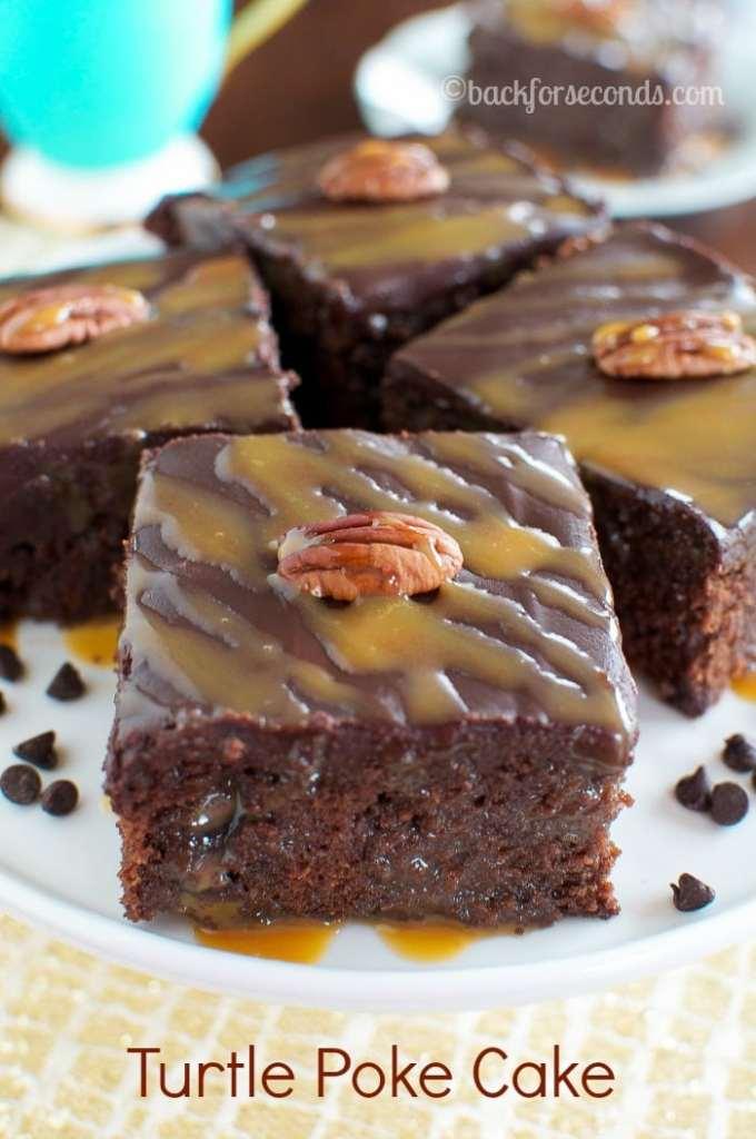 Turtle Poke Cake - BEST chocolate cake filled with caramel and chocolate ganache!!