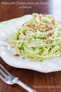 Creamy Avocado Pasta with Bacon