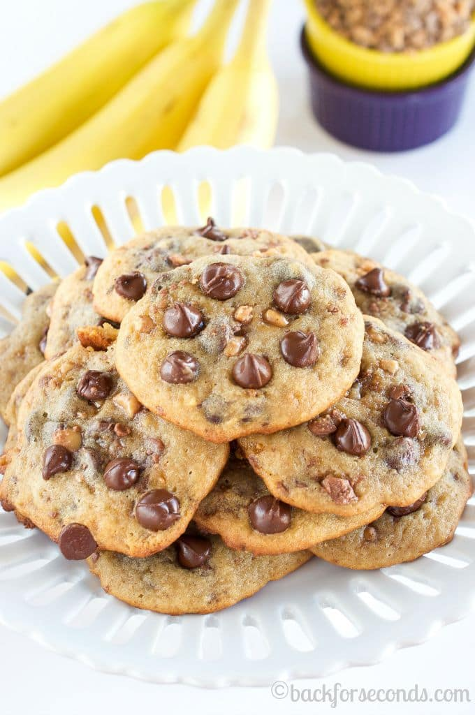 Soft and Chewy Banana Toffee Chocolate Chip Cookies - These are Incredible!!!
