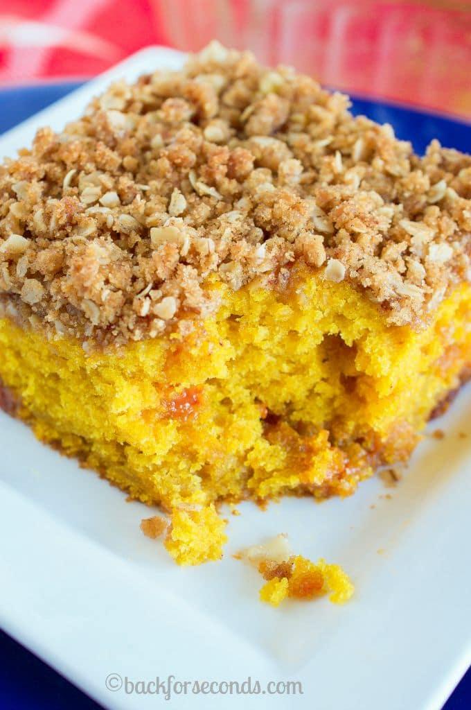 BEST Pumpkin Butterscotch Coffee Cake with Peanut Butter Streusel