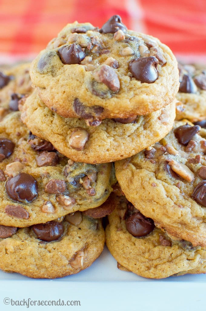 The Best Pumpkin Chocolate Chip Cookies with Toffee