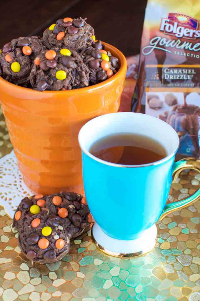 Thick, Soft, and Chewy Chocolate Cookies with Reese's Pieces and Coconut! Great with a cup of coffee!