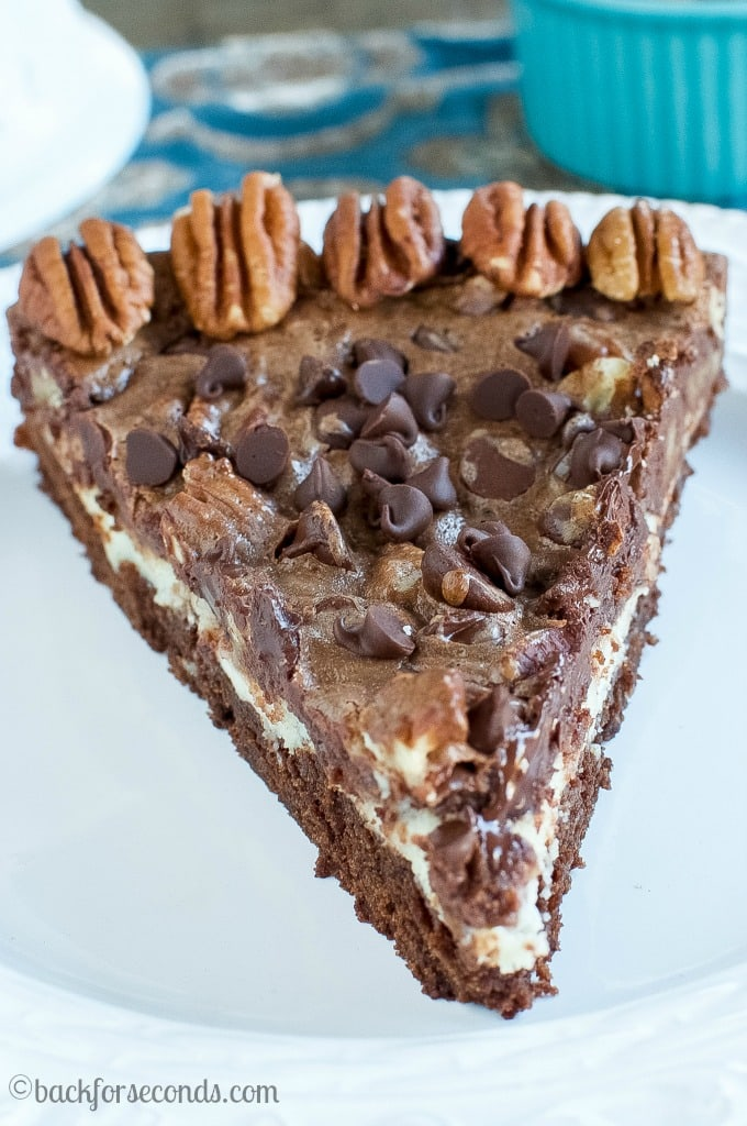 Chocolate Pecan Pie Brownie Cheesecake - the perfect, easy holiday dessert!