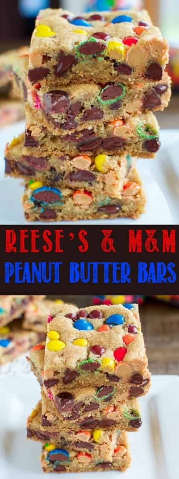 These chewy Reese's and M&M Chocolate Chip Bars are even better than your favorite bakery cookie and they are quick and easy to make! Everyone loves them!