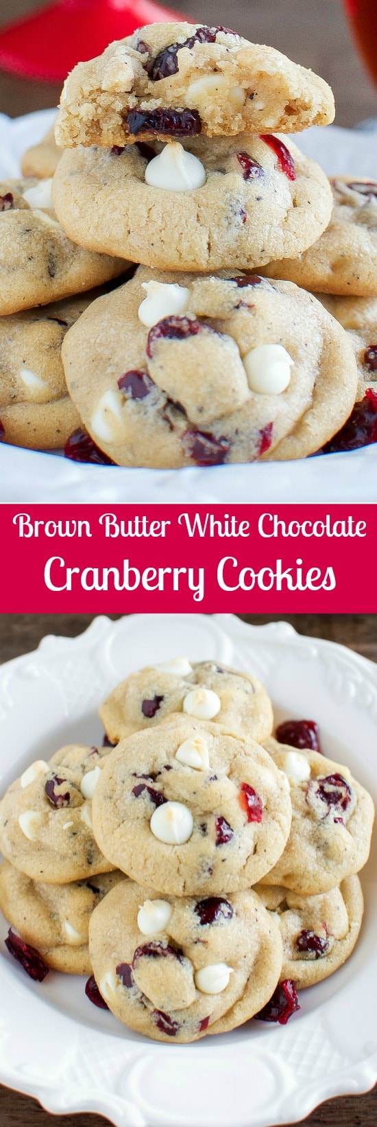 Brown Butter White Chocolate Cranberry Cookies - Easy Christmas Cookie Recipe!