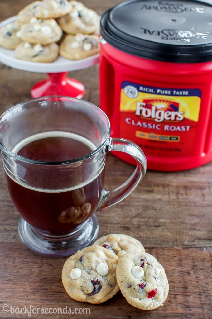 Brown Butter White Chocolate Cranberry Cookies and Folgers Coffee