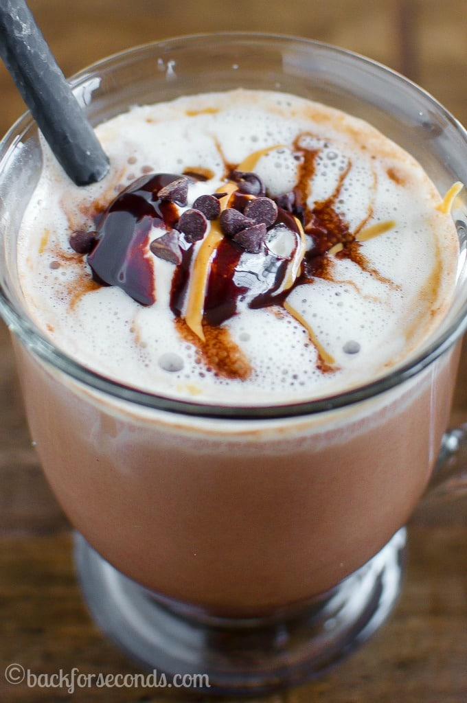 Skinny Peanut Butter Mocha- save money and calories with this homemade gourmet coffee!