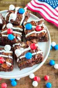 Patriotic Marshmallow Crunch Brownies