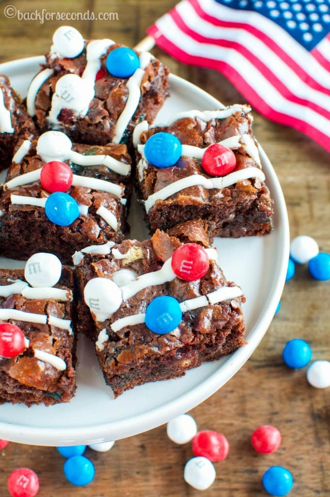 Marshmallow Crunch Brownies - the easiest Red, White, and Blue dessert, perfect for picnics, potlucks, Memorial Day and the 4th of July!