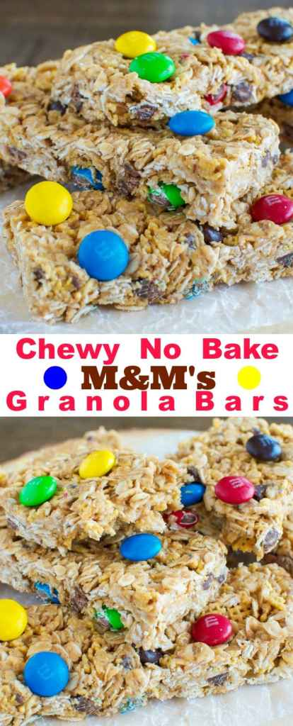 Chewy No Bake Peanut Butter and M&M's Granola Bars - Just a handful of ingredients and a few minutes are all you need to make them.  #Promotion
