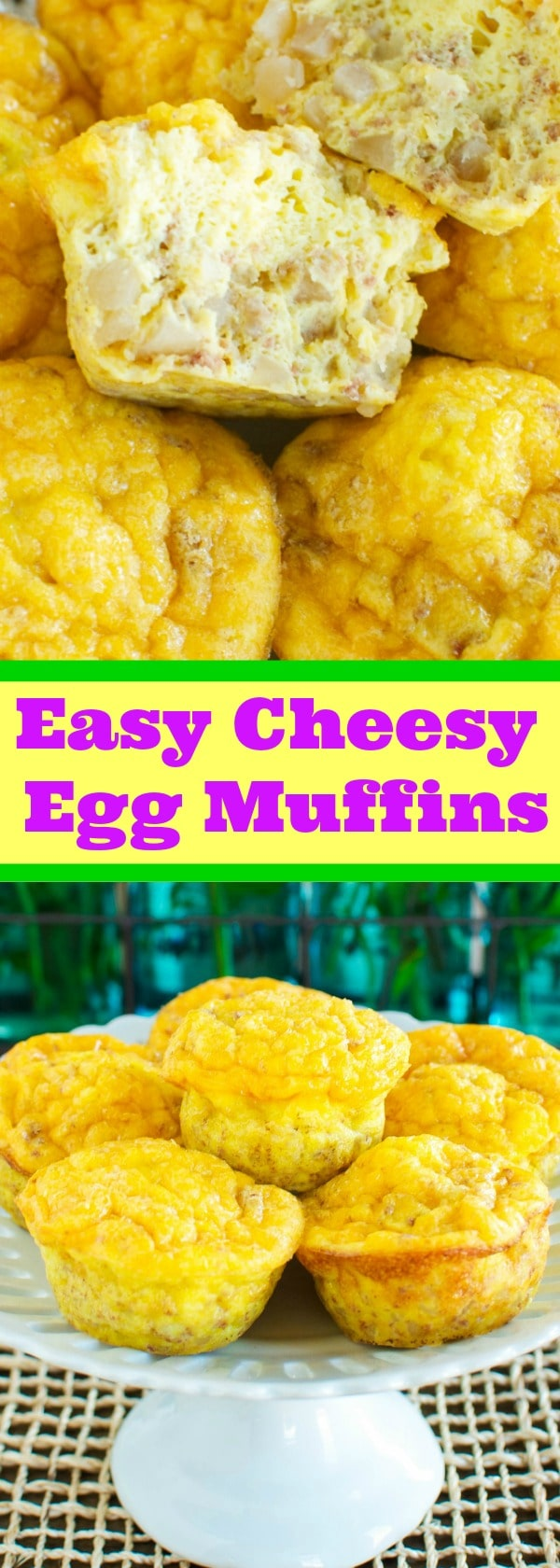 Easy Cheesy Egg Muffin Scrambles -  A hearty, protein rich breakfast you can make ahead and store in the freezer! #Promotion