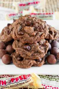 Chewy Chocolate Malt Ball Cookies