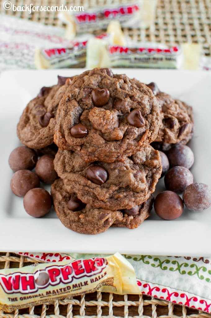 These Chewy Chocolate Malt Ball Cookies are about to be your new favorite! So chewy, so chocolatey, and full of whoppers malt ball candies! Delicious!