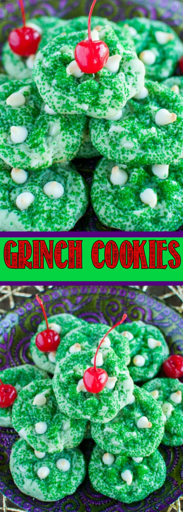 Grinch Cookies taste just like the popular Shamrock Shake! These cool, minty, soft, and chewy cookies are perfect for Christmas cookie exchanges!