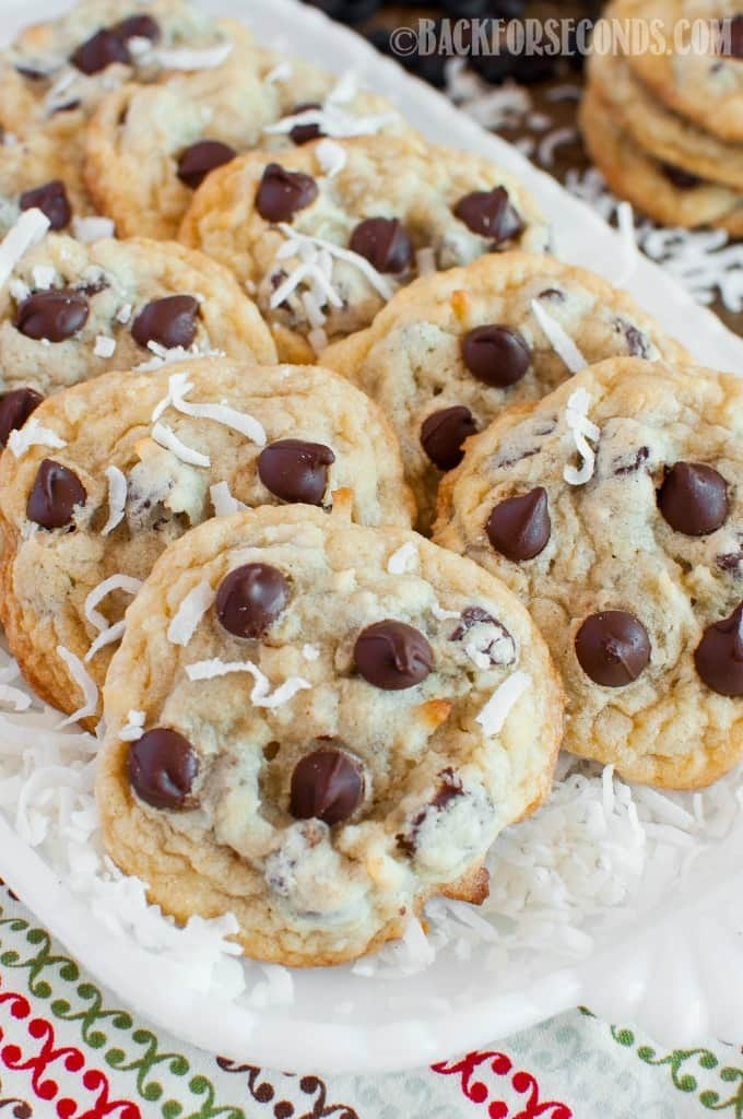 These soft and chewy Coconut Chocolate Chip Cookies are a fun, tropical twist on everyone's favorite cookie! They pair beautifully with a good cup of coffee