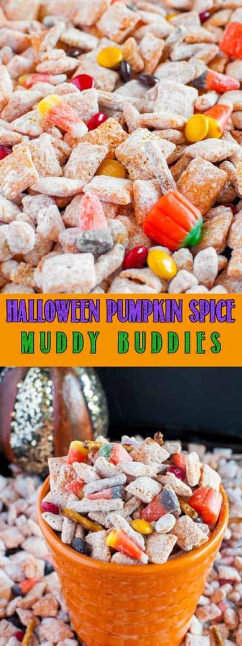 Halloween Pumpkin Spice Muddy Buddies are fun and easy to make, and are the perfect festive, sweet and salty snack for Halloween or fall holiday parties!