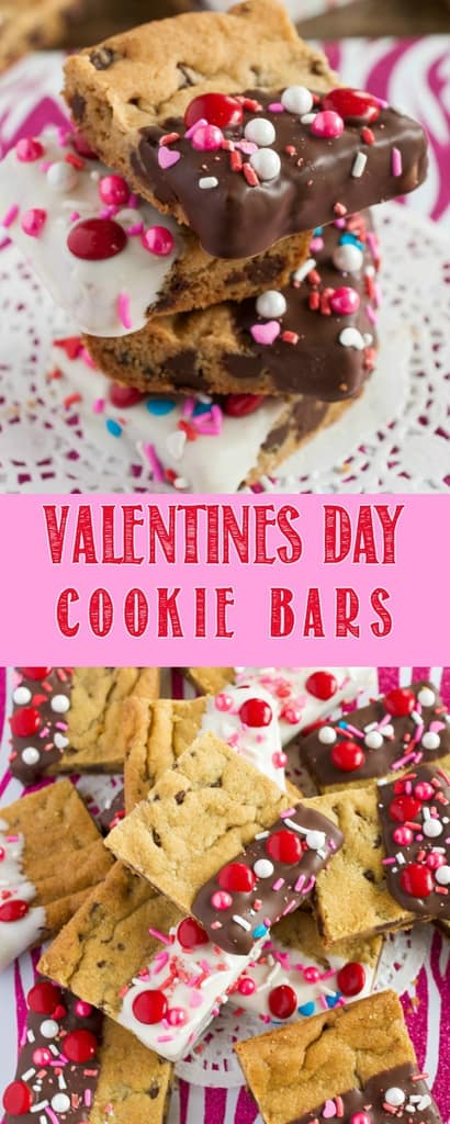 Valentine's Day Cookie Bars are a fun, easy dessert perfect for parties! Soft, chewy chocolate chip cookie bars dunked in chocolate and decorated with love! #valentinesday #valentinesdaydessert #easydessertrecipe #Valentineideas