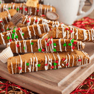 This White Chocolate Peanut Butter Cup Biscotti is perfect with a cup of coffee or milk! A beautiful gift idea for Christmas that's surpisingly easy to make!