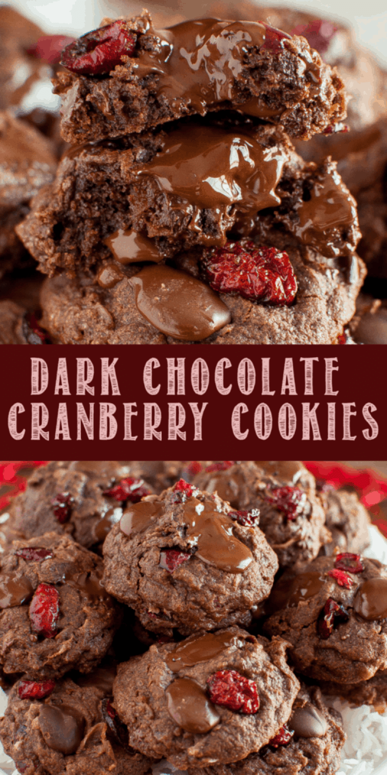 Easy, rich, chewy Double Chocolate Cranberry Cookies are perfect for Valentine's Day! Brownie like cookies loaded with dark chocolate, cranberries, and coconut!.