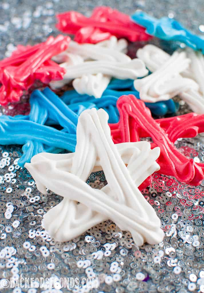 Star shaped Red, white, and blue 4th of July Meringue Cookies