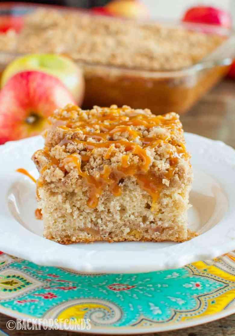 Caramel Apple Crumb Cake close up