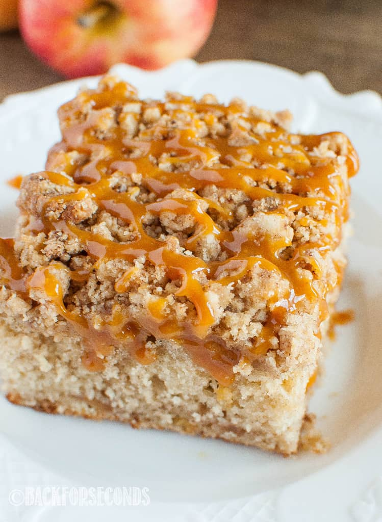 Caramel Apple Crumb Cake close up overhead