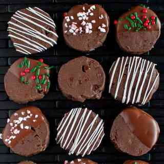 Double Chocolate Shortbread Cookies decorated for Christmas!