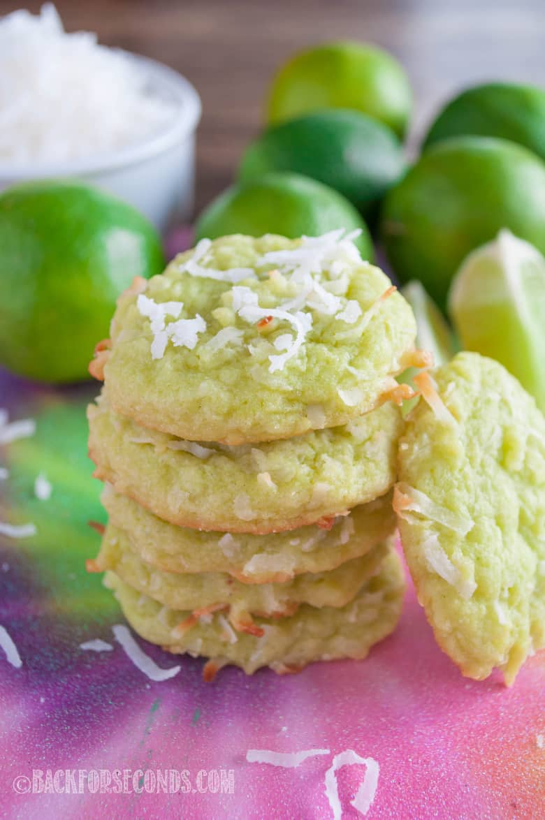 Coconut Lime Cookies stacked