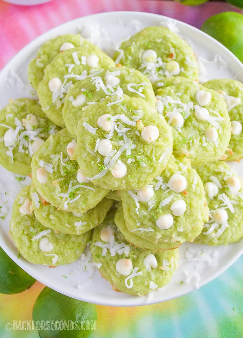 Coconut Lime Cookies on a cake plate, top view