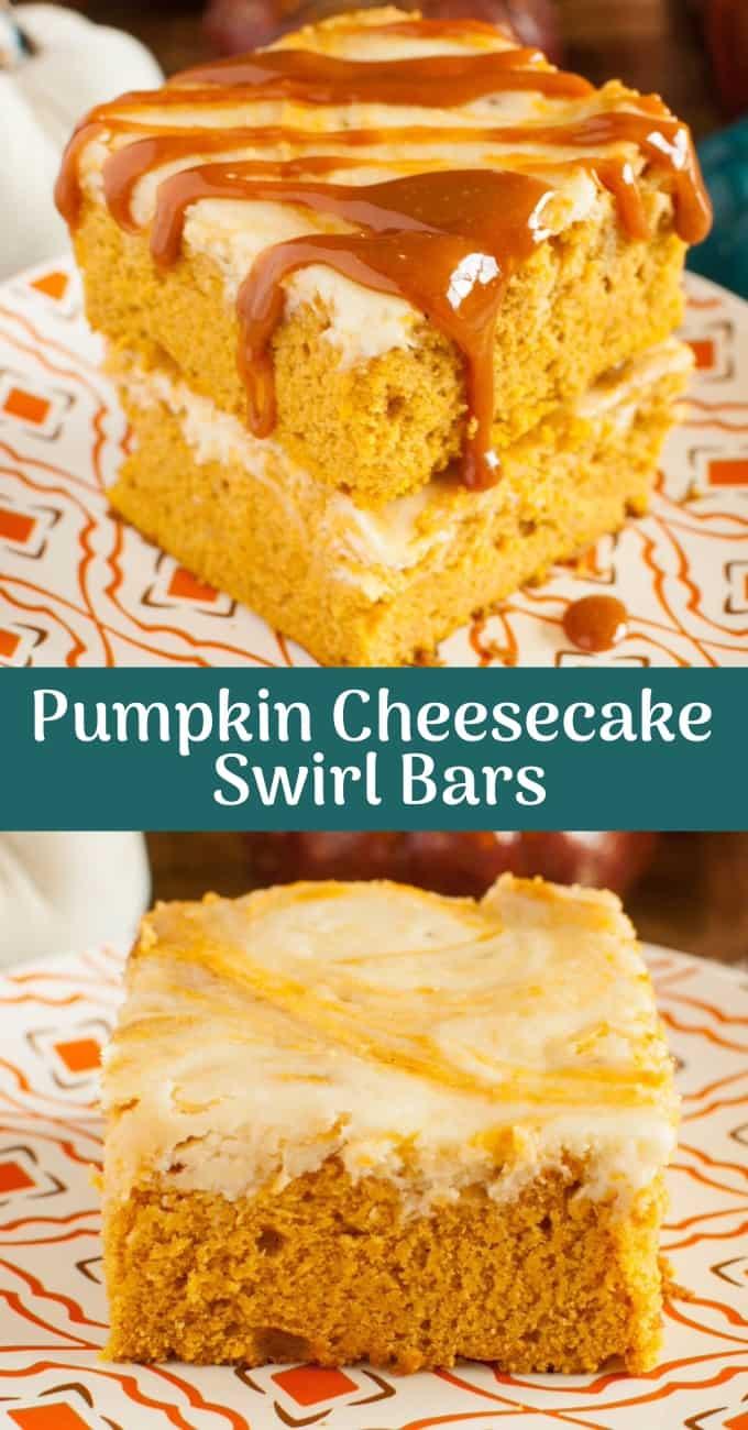 Pumpkin Caramel Cheesecake Swirl Bars with Caramel sauce in a collage photo