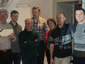 The Brussels team winning the Fonske challenge: Alain Chif, Zsolt Tasnadi, Nabil Antoun, Maurits Pino, Liliane Baptista, Johan Brisaert, and Kristoffer De Weert.