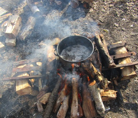 The maple sap boiling