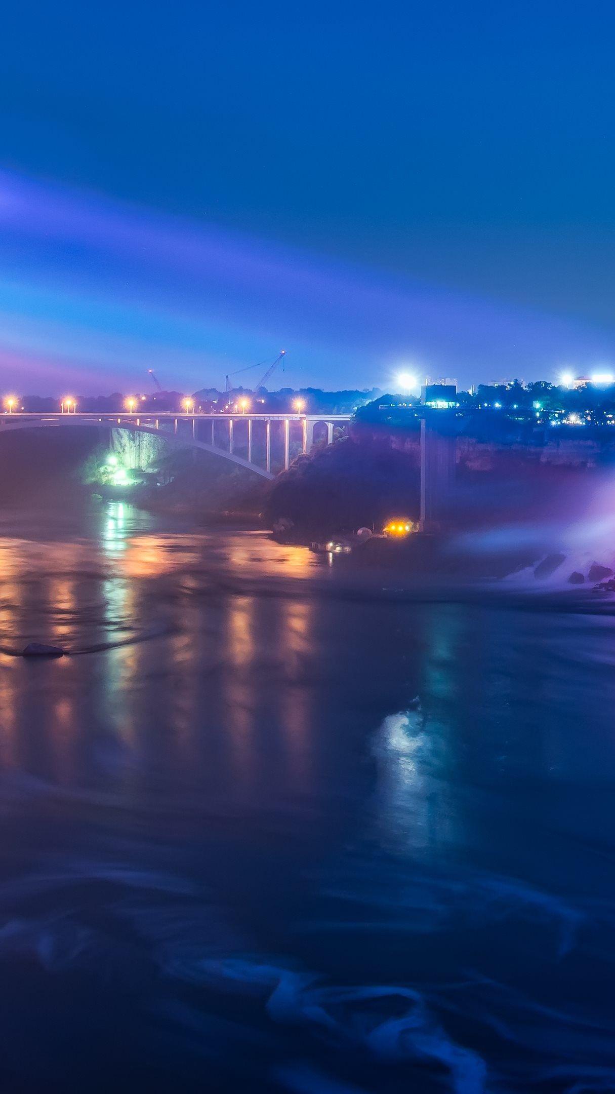 Niagara Falls And The Rainbow Bridge At Night 4k Ultrahd