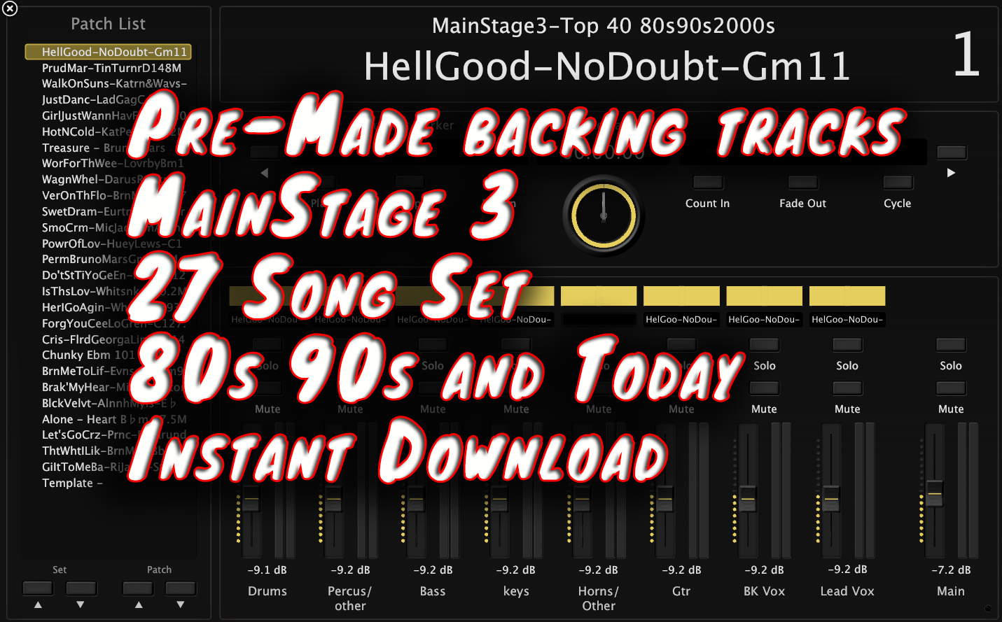 MainStage 3 Pre-Made backing tracks 27 Song Set 80s 90s and Today - Instant  Download