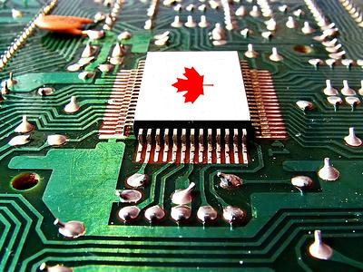 circuit board with maple leaf